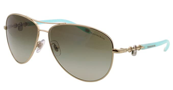 57d63cf6261b Tiffany TF3034 60213M Pale Gold TF3034 Pilot Sunglasses Lens Category 2  Size 60