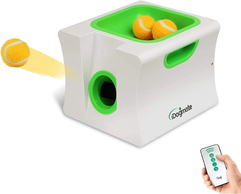 IDOGMATE Small Dog Ball Launcher,Automatic Dog Ball Thrower for Mini Dog (Small Machine with 3 Balls)