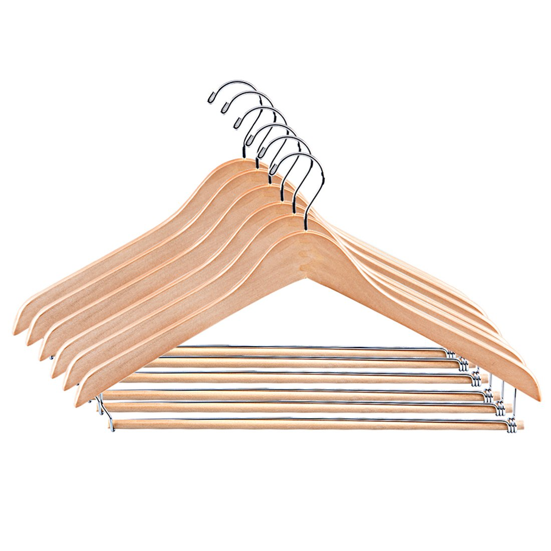 Tosnail Natural Wooden Suit Hangers, Wood Coat Hangers Pant Hangers with Locking Bar - 6 Pack