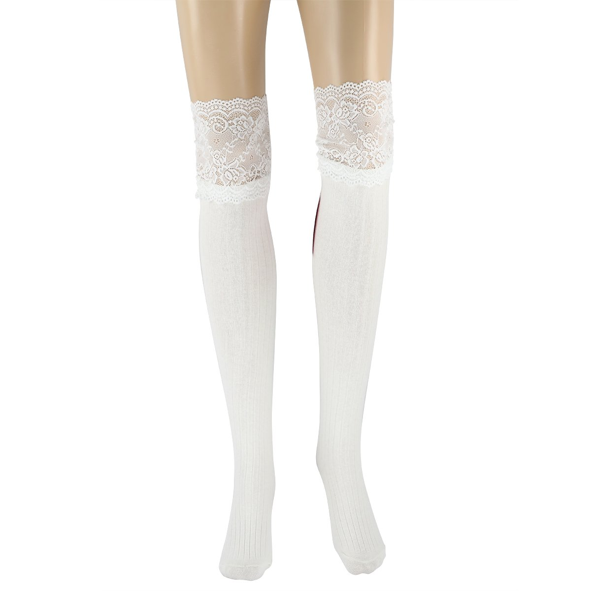 MARRYSUN Women Girls Thigh High Socks Winter Over Knee Leg Warmer - Knit Crochet Socks S15MD0002BK-FS