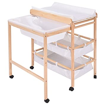 Costzon Baby Changing Table Diaper Nursery Station With Bath Tub Combination