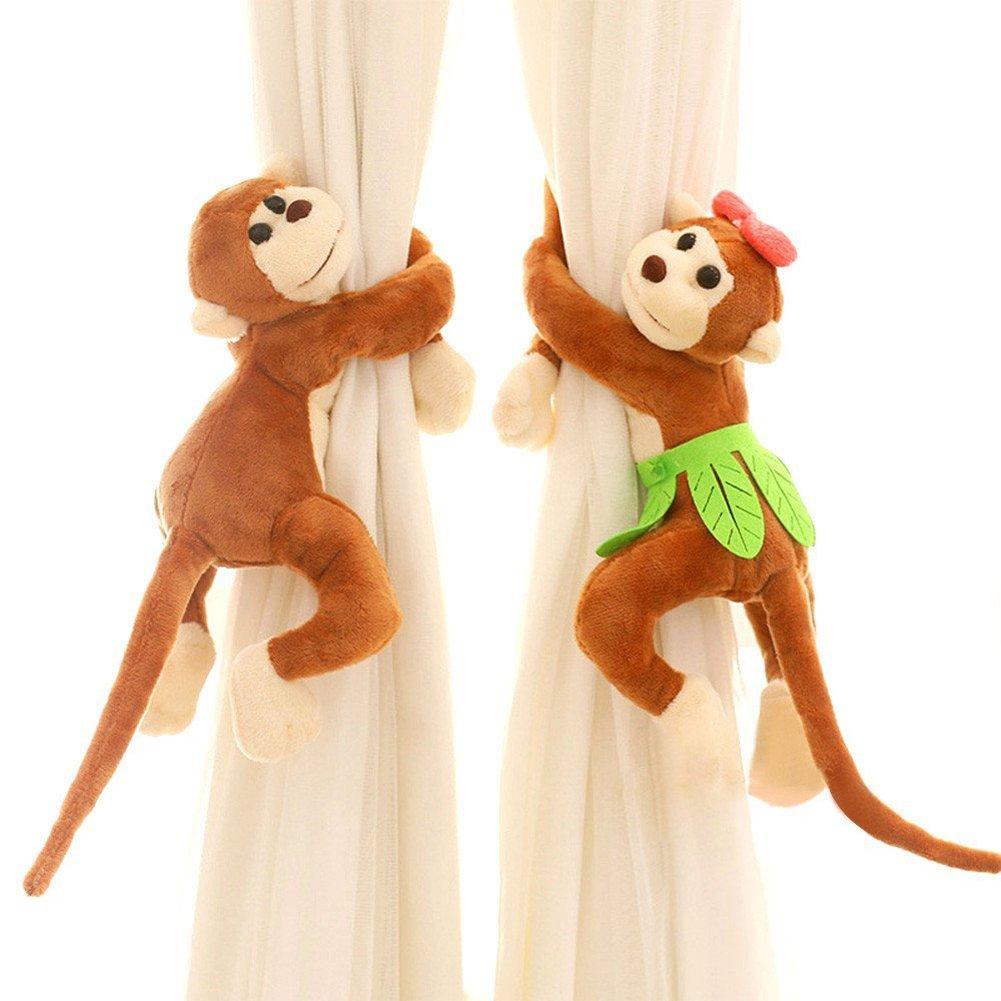 PYD 2PCS Cute Baby Kid Curtain Tieback Holder Monkey Shape Bedroom Window Screens Buckles Hook Room Decor Curtain Accessories (Orange)