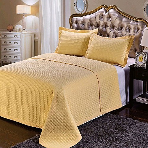 UPC 825624708299, 7- Pcs Bed Spread Set- Queen -Gold-Checkered Quilted Wrinkle-Free Microfiber includes 3-Pcs Coverlets Set and 4-Pcs sheet set.