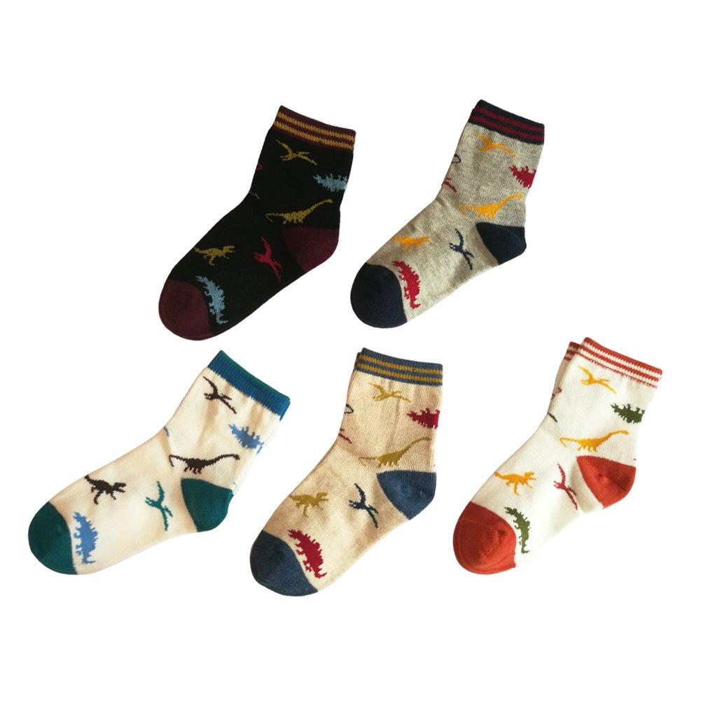 Cute Dinosaur Socks for Boy Cotton Crew Sock Ankle Sock Packs of 5 UMEA STORE