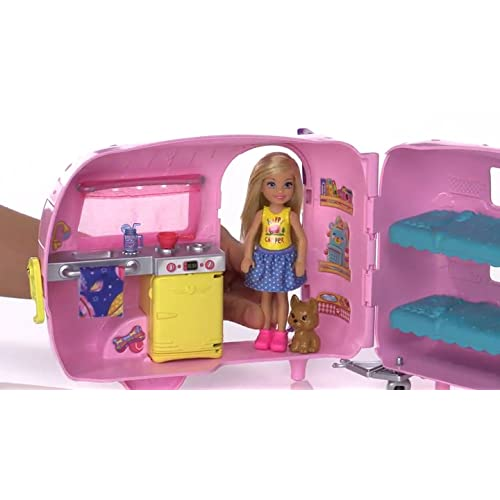 Barbie Club Chelsea Camper Doll Playset Convertible Bunk Beds Puppy Accessories