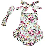 DQdq Baby Girls' Floral Print Ruffles Romper Summer Dress Light Blue Rose 24 Month