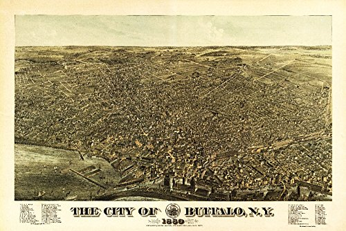 Buffalo, New York - (1880) - Panoramic Map (12x18 Art Print, Wall Decor Travel ()