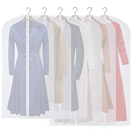 5725911c3c57 CM CUMIZON Garment Bags Hanging Garment Covers for Long Dresses Translucent  Suit Bag (Set of 6) with Full-Length Zipper for Dance Costumes Gown Dress  ...