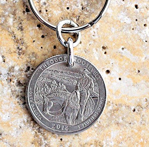 Theodore Teddy Roosevelt U.S. Quarter North Dakota Coin Keychain, Key Ring, 2016