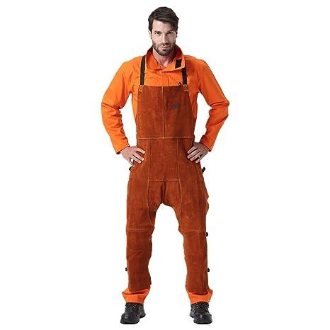 Desconocido Pantalones de soldar, Chaps de Soldadura de Cuero, Pantalones de Trabajo de Cuero
