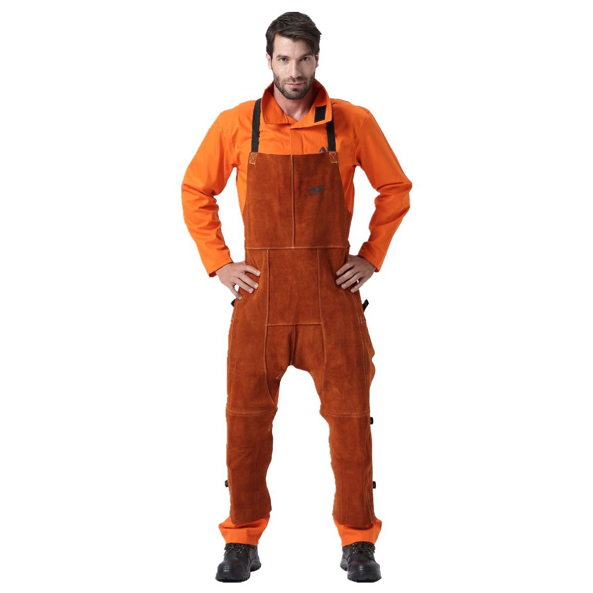 Welding Pants Leather Welding Chaps Flame/Abrasion Resistant Cowhide Leather Worker Britches Trousers Working Apron (Coffee)