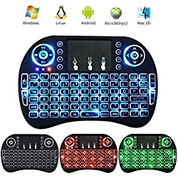 2.4GHz Wireless Mini Keyboard with Backlit Remote Control Touchpad Android TV Box Tablet HTPC Laptop (3 colors backlight)