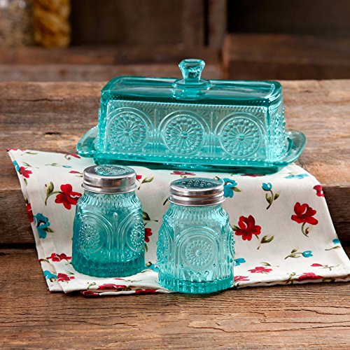 The Pioneer Woman Adeline Glass Butter Dish with Salt And Pepper Shaker Set,Turquoise | Stunning Adeline Butter Dish with Salt And Pepper Shaker Set - Turquoise (Shaker 7 Hole)