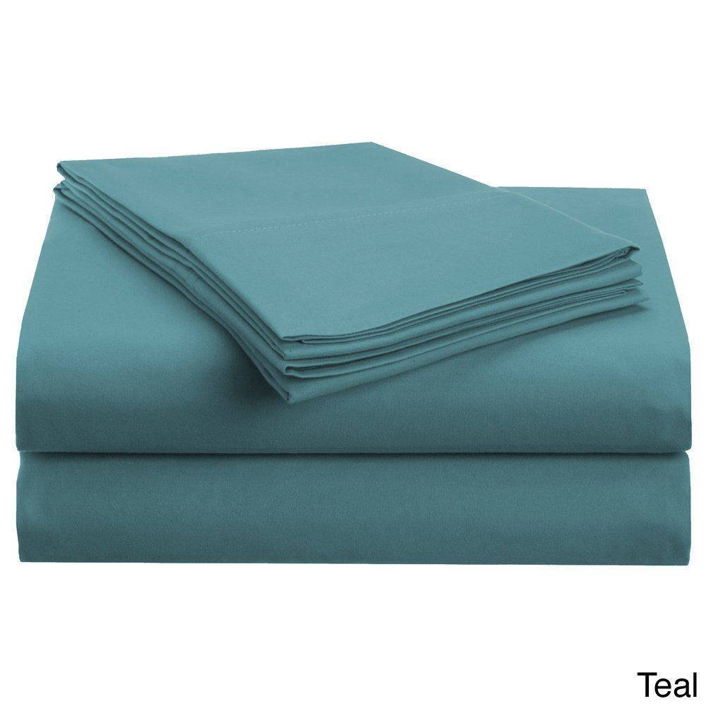 4 Piece King Teal Sheet Set, Casual & Traditional Style, Solid Color, Fully Elasticized Fitted Sheet, Solid Color, Microfiber, Sateen weave, Single-ply design, Machine Wash, Bed Sheet