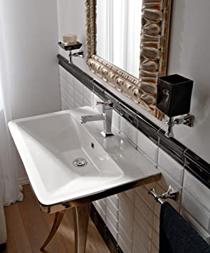 Lavabo de salle de bain rétro suspendu/soutien Blanc/Platine ...