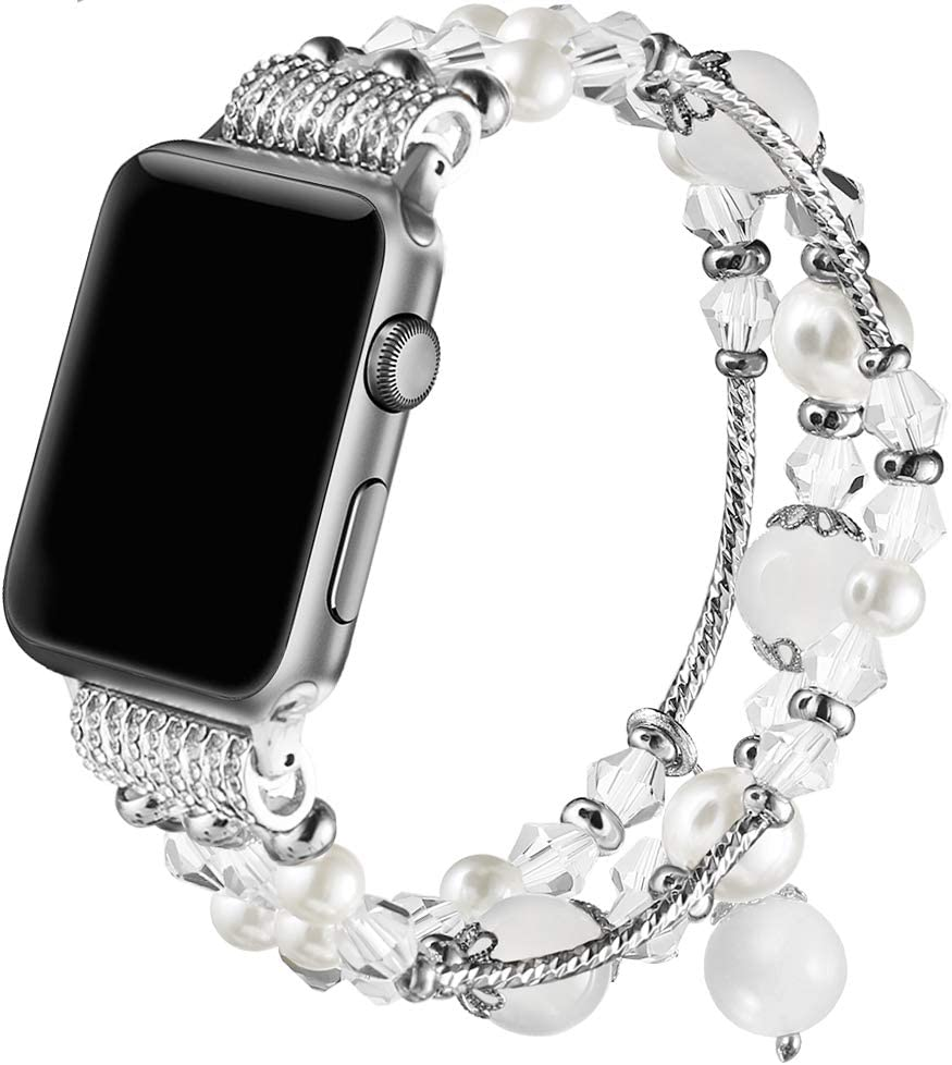 Gaishi Band Compatible with Apple Watch 38mm 40mm, Women Girl Elastic Handmade Pearl Bracelet Replacement for 38mm Apple Watch Series 4 3 2 1, White