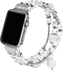 Suppeak Band Compatible with Apple Watch 42mm 44mm, Women Girl Elastic Handmade Pearl Bracelet Replacement for 42mm Apple Watch Series 5 4 3 2 1,White