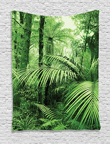 Jungle Tapestry Rainforest Decorations by Ambesonne, Palm Trees and Exotic Plants in Tropical Jungle Wild Nature Zen Theme Illustration, Bedroom Living Room Dorm Wall Hanging Tapestry, (Jungle Trees Backdrop)