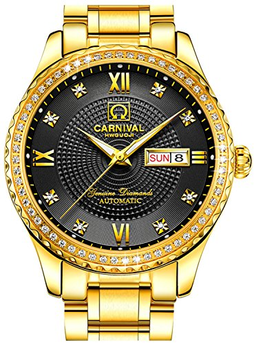 Dial Diamond Gold Black (CARNIVAL Mens diamond Dial Automatic Full Gold Stainless Steel Sapphire Glass Waterproof Men Black Watch)