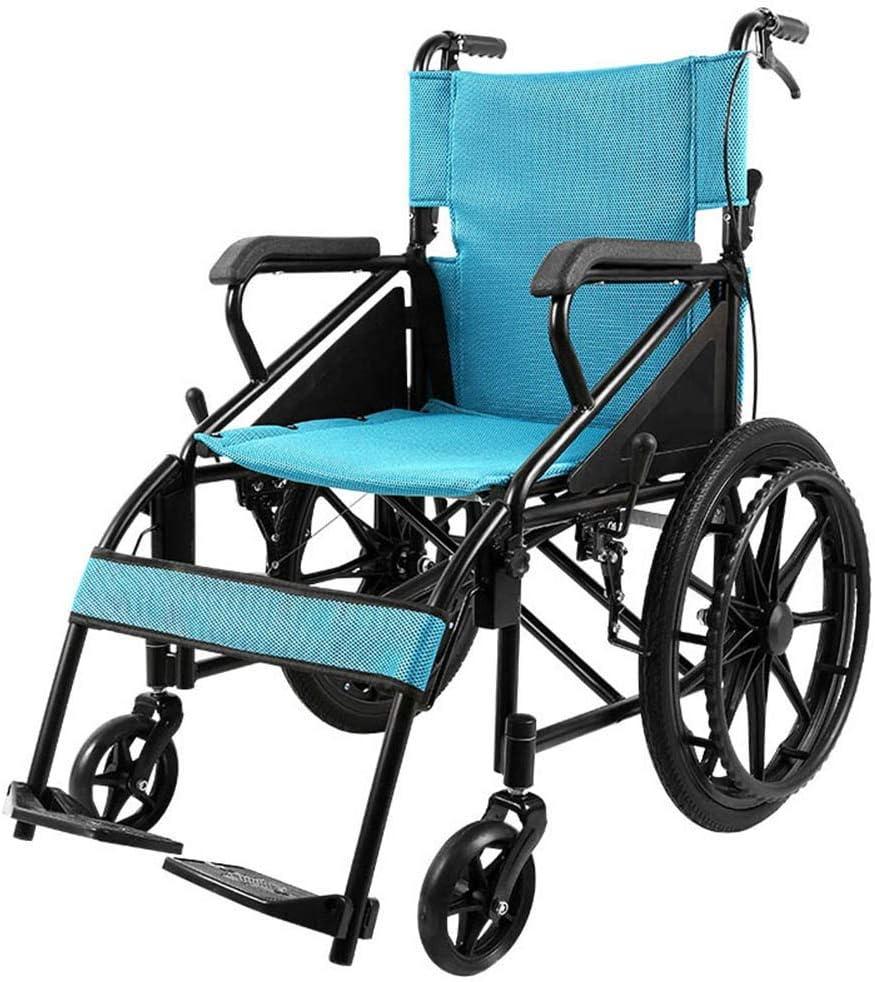 介助車椅子 折りたたみ式車いすソリッドタイヤファッション障害者のための繊細なブルーでPUアームレストポータブル軽量スチール車椅子は100キロに耐えることができる(ロング背もたれ) a+++ (Size : 72*33*73cm)