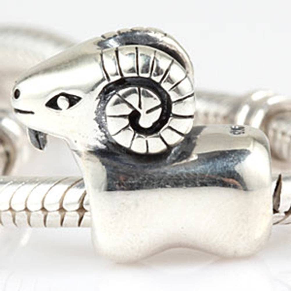 Choruslove 925 Sterling Silver Sheep Charm Animal Argali Bead for European Snake Chain Bracelet