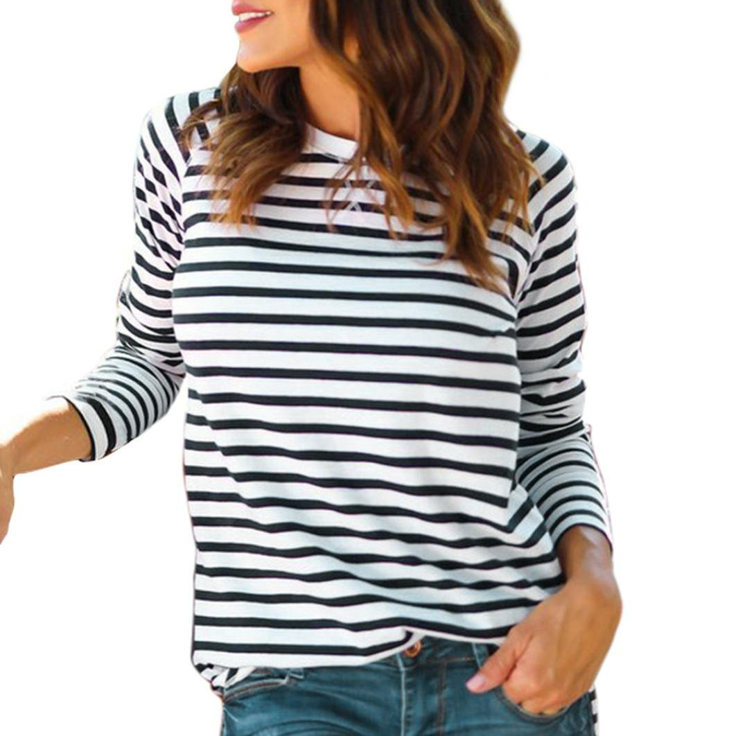 iHENGH Women Casual O Neck Stripe Print Long Sleeves Blouses Tops T-Shirt
