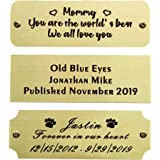 "Size: 3"" W x 1"" H, Personalized, Custom Engraved, Brushed Gold Solid Brass Plate Picture Frame Name Label Art Tag for Frames,"