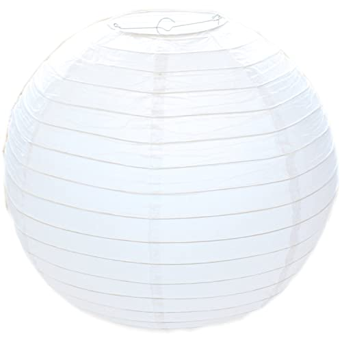 """White Round Paper Bamboo Style Ribbed Lampshade 30cm / 12"""""""