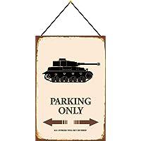 NWFS tank Parking only parkschild tin plaat metalen plaat Tin Sign gewelfd gelakt 20 x 30 cm met koord