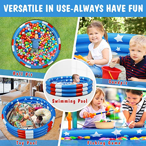 Inflatable Kiddie Pool, Extra Large Baby Pool Summer Cool Stars Kids Swimming Pools to Replace Backyard Pool Inflatable Water Pool for Kids Indoor&Outdoor(49''x12'')