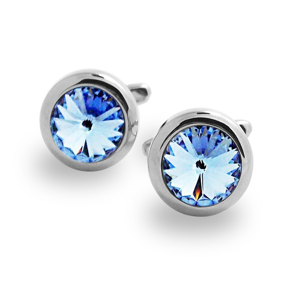 Covink Swarovski Crystal Tie Clip Blue and White Crystal Cufflinks and Tie Clip Set (Blue Set) by Covink® (Image #4)