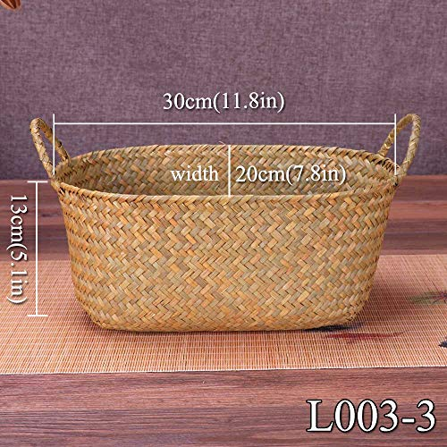 Gold Happy Weaving Storage Basket Fruit Dish Rattan Storage Box for Cosmetics Tea Picnic Basket Food Bread Organizer Handiwork
