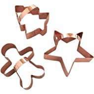 Copper Cookie Cutter Set, BONUS Handles, Fun Baking In Your Home Kitchen, Modern Tools Add Vintage Charm, Set of Gingerbread Man, Star & Tree, Beautifully Gift-Boxed