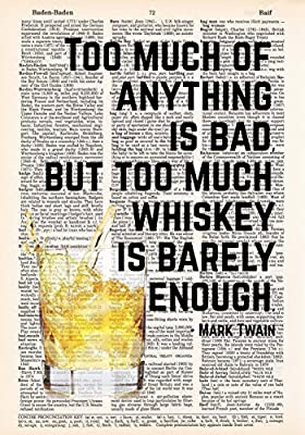 Whiskey is Barely Enough - Mark Twain Quote - Dictionary Page Print - 8x11 - UNFRAMED