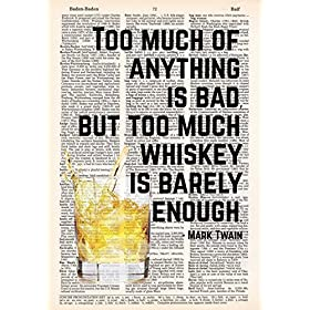 Whiskey is Barely Enough – Mark Twain Quote – Dictionary Page Print – 8×11 – UNFRAMED