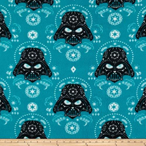 Camelot Fabrics Star Wars Darth Vader Sugar Skulls Fleece Fabric, Dark Turquoise, Fabric By The Yard ()