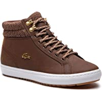 Lacoste Womens Straightset Insulate Trainers Sneakers in Brown/White.
