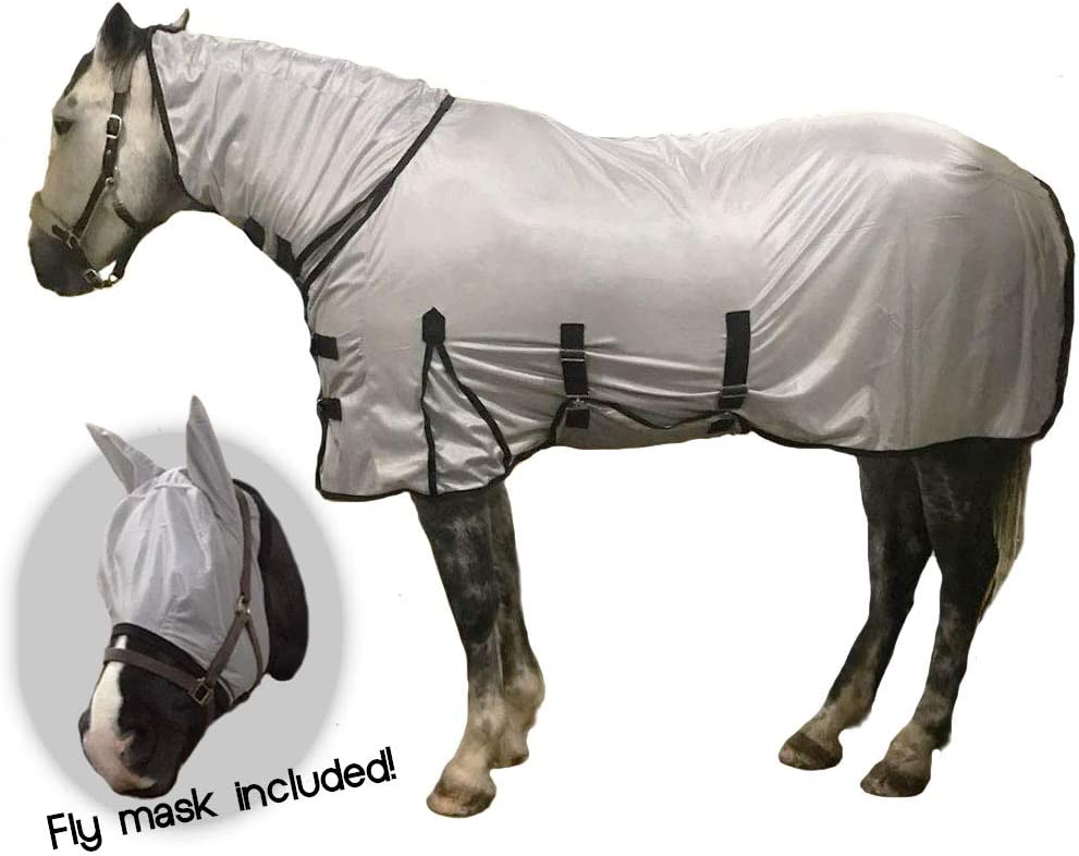 59 Knight Rider Fly Rug With Full Neck /& Fly Mask Fine Mesh Grey