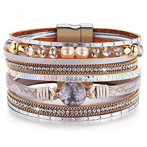 DESIMTION Bracelet for Women Wrap Boho Womens Stacking Bracelet,Cuff Braided Multilayer Wide Wrist Magnetic Clasp Buckle Casual Bangle Bracelets for Teen Girls Women Boy Gift,Mothers Day Jewelry Gift
