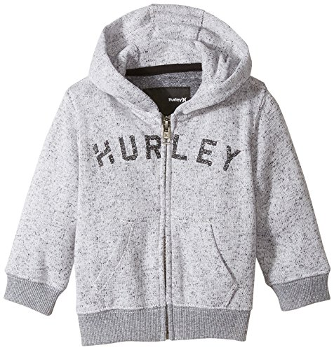 Hurley Baby Boys' Retreat Zip Front Screen-Print Hoodie, Wolf Grey, 12 Months