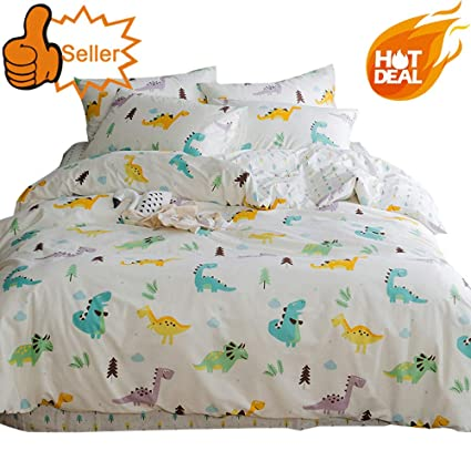 Teenage Bedding Sets Full.Otob Cartoon Dinosaur Blue Queen Duvet Cover Sets For Kids Teen 100 Cotton Reversible Comfortable 3 Pieces Boys Bedding Duvet Cover Pillowcases Girls