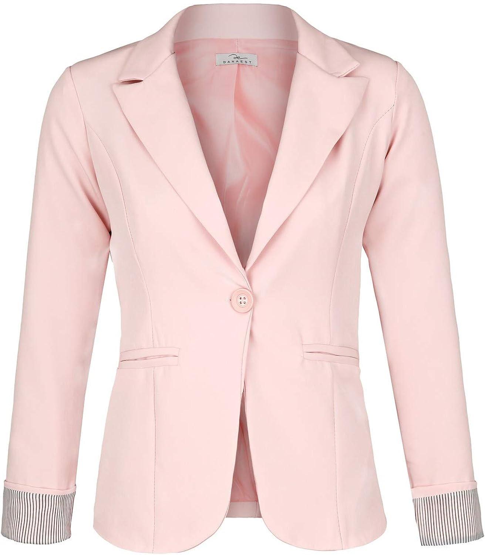 625 Farbe:Rosa Blazer 1:38 // M DANAEST Eleganter l/ässiger Doppelreihiger klassischer Business Blazer