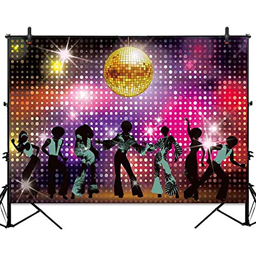 Allenjoy 7x5ft Vintage 80s 90s Disco Night Party Backdrop Neon Dancers Shiny Adults Birthday Background Decorations Photo Studio Booth Photography Props