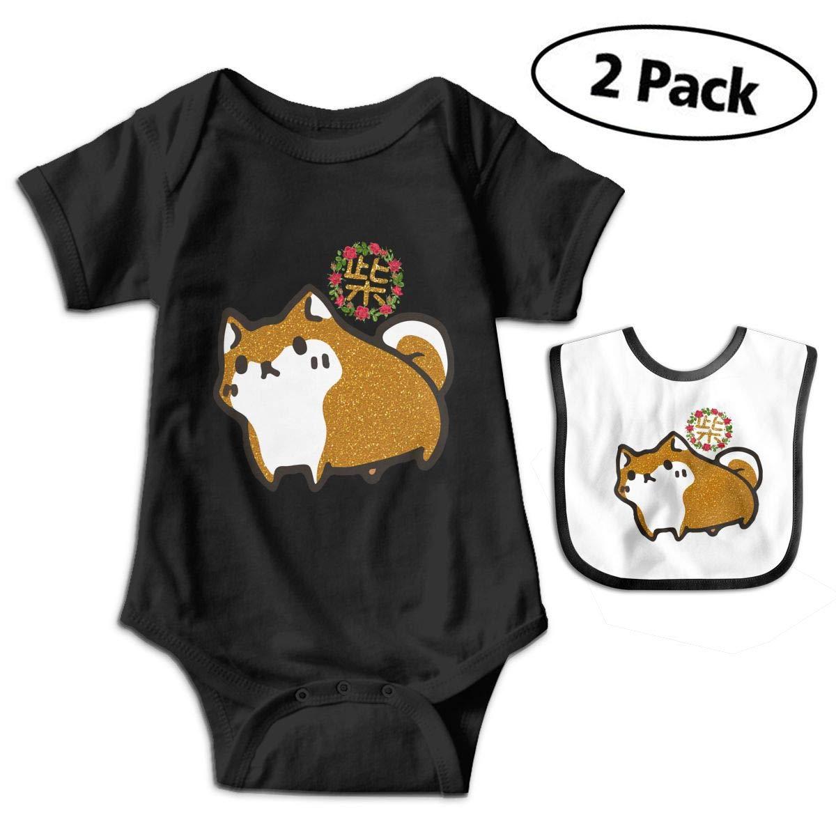 Shiba Inu Japanese Dog 2PCS Newborn Baby Print Cotton Short Sleeve Bodysuits+Bibs Set
