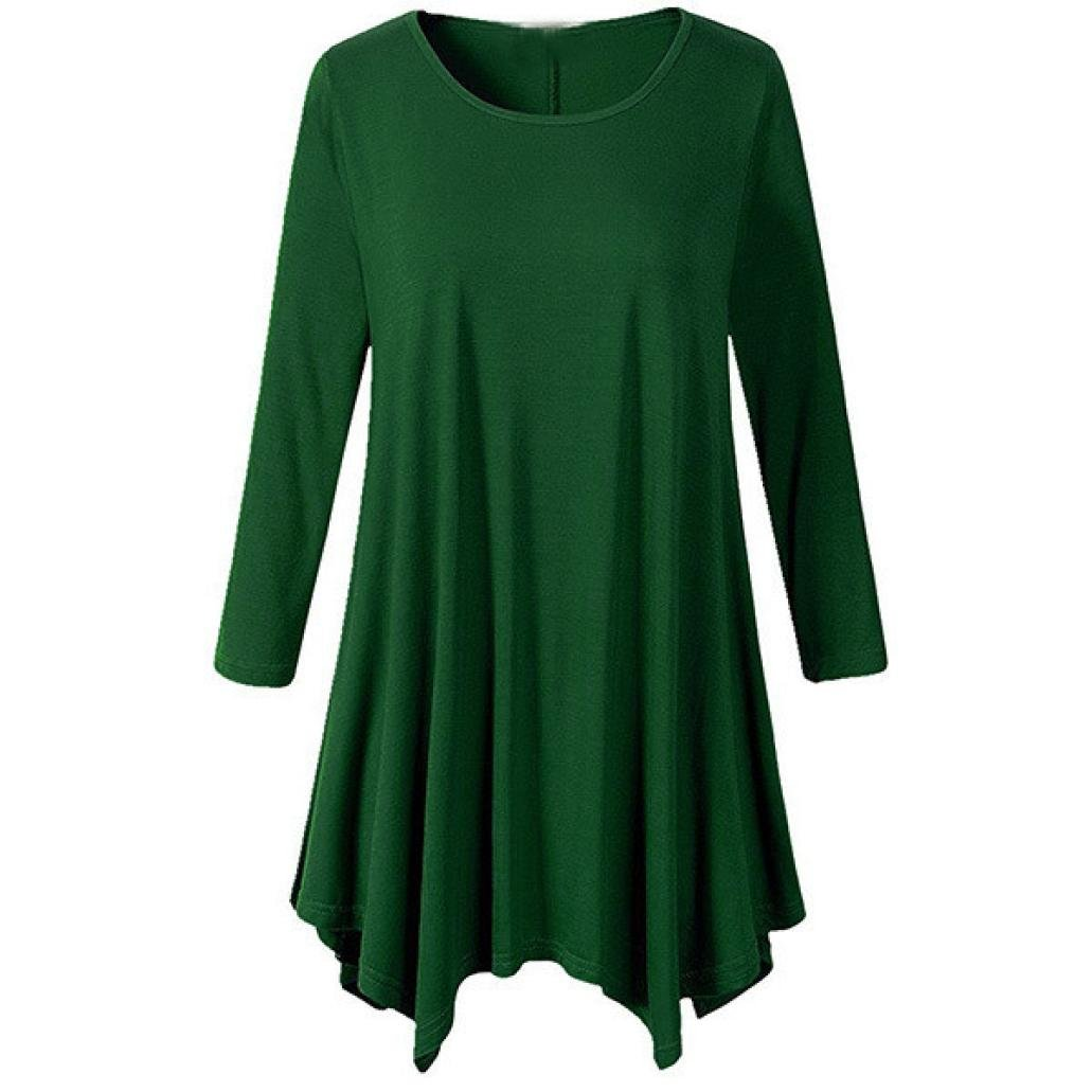 Longay Women's Long Sleeve Loose Swing Tunic Shirt Dress Flare Hem Tops (M, Green)