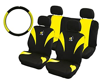 XtremeAuto® YELLOW/BLACK, BEE, CAR STYLING SET. Steering wheel and