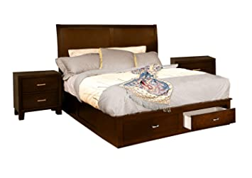 Furniture of America Varielle Modern 3-Piece Storage Platform Bedroom Set  with 2 Nightstands, Queen, Brown Cherry Finish