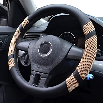 Orange Pahajim Car Steering Wheel Cover Ice Silk Breathable Anti Slip Sporty Curves Steering Wheel PU Leather for Fit Summer