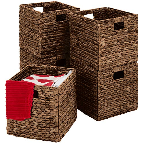 Best Choice Products Rustic Set Of 5 Multipurpose Collapsible Hyacinth Storage Basket, Handwoven Laundry Organizer Totes…