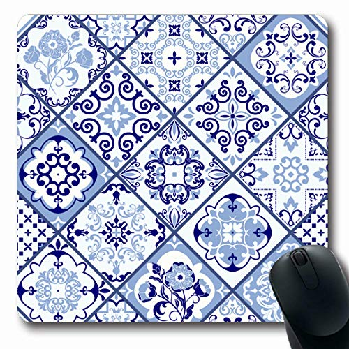 (Ahawoso Mousepads Blue Flower Vintage Portugal Azulejo Abstract Morocco Turkish Floral Symmetric Victorian Damask Oblong Shape 7.9 x 9.5 Inches Non-Slip Gaming Mouse Pad Rubber Oblong Mat)